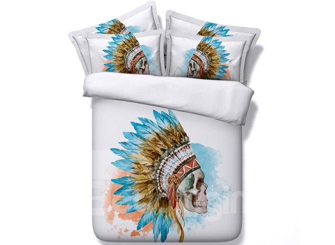 Indian Style Skull Reactive Print 5-Piece Comforter Sets