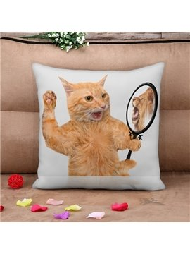 Cat in the Mirror Print Throw Pillow Case