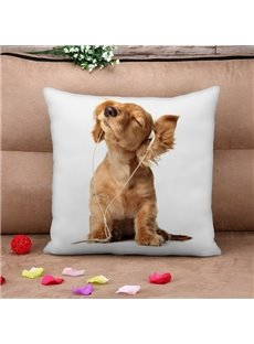 Lovely Dog Listening to Music Print Throw Pillow Case