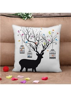 Personalized Deer and Birdcage Print Throw Pillow Case
