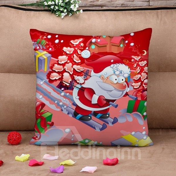Santa on Skis Print Throw Pillow Case