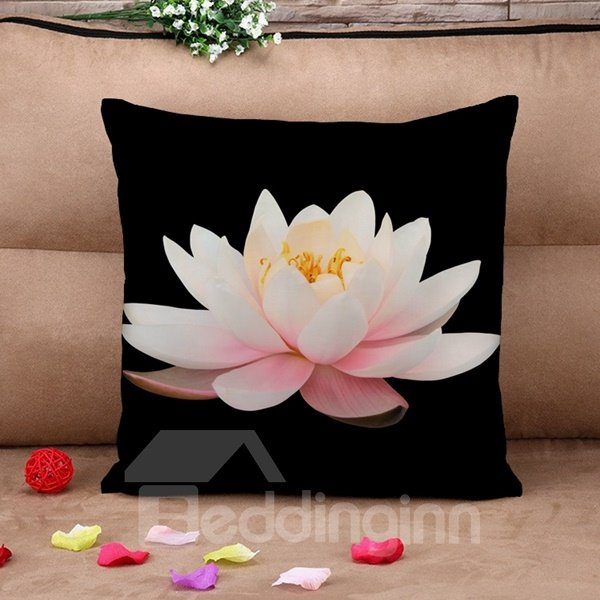 Lifelike 3D Lotus Print Throw Pillow Case