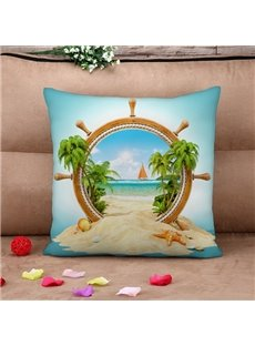 Chic Design Beach Scenery Print Throw Pillow Case