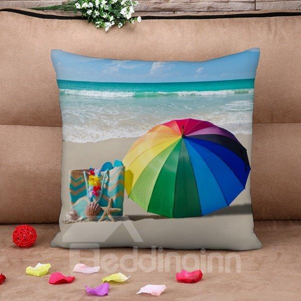 Rainbow Colored Umbrella Print Throw Pillow Case