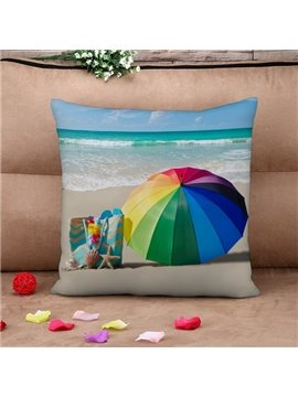 Rainbow Colored Umbrella Print Throw Pillow Case