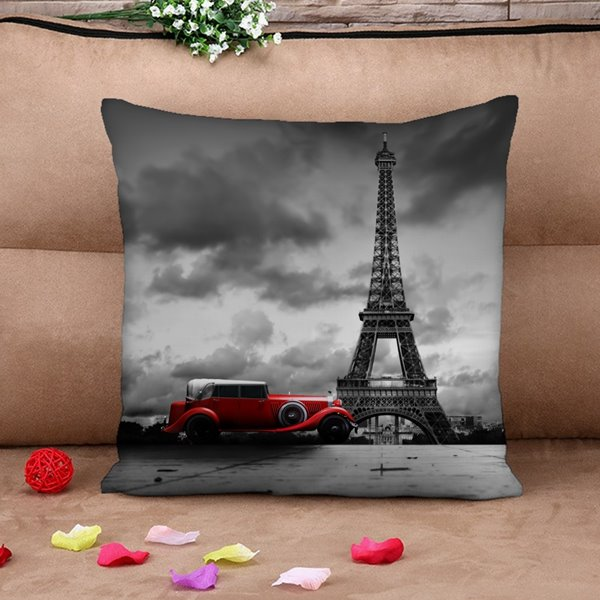 Eiffel Tower and Vintage Car Print Throw Pillow Case