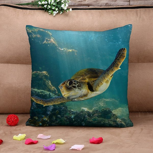 Popular Swimming Turtle Print Throw Pillow Case