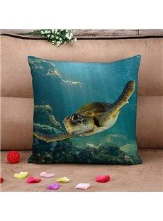 Popular Swimming Turtle Print Throw Pillow Case