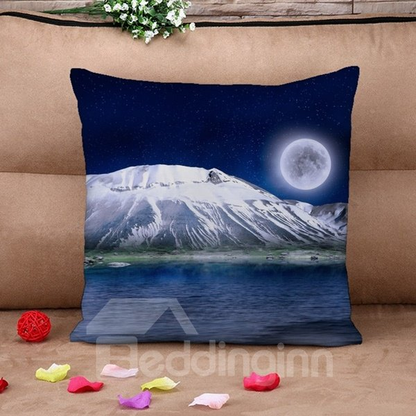 Moonlight Snow Mountain Print Throw Pillow Case