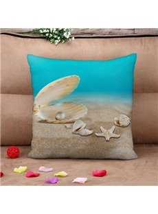 Shell and Starfish Print Throw Pillow Case
