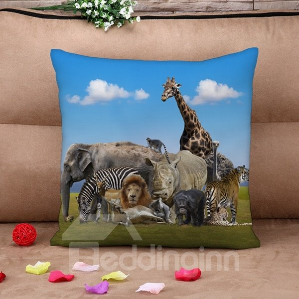 Splendid Animal 3D printed Throw Pillow Case