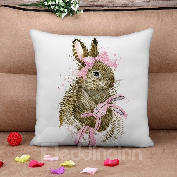 Lovely Rabbit Print Square Throw Pillow Case
