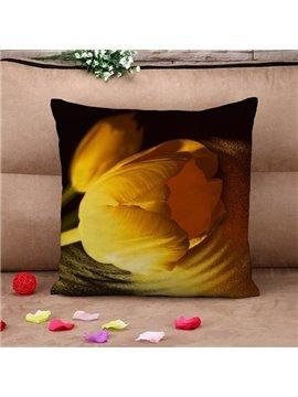 Blooming Yellow Tulip Print Throw Pillow Case