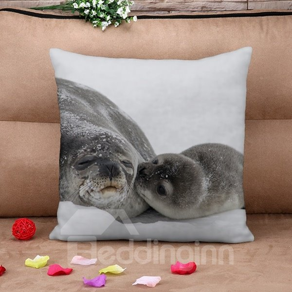 Relaxing Seal Print Square Throw Pillow Case