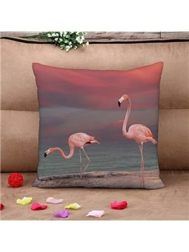 Attractive Flamingo by the Sea Print Throw Pillow Case