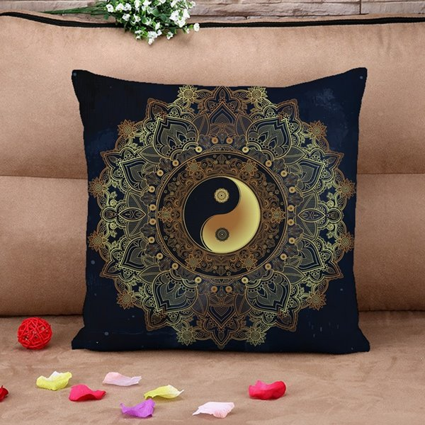 Chic Tai Chi Icon Print Throw Pillow Case