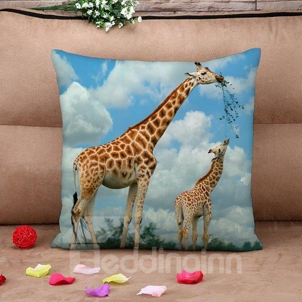 Giraffe Mother and Son Print Throw Pillow Case
