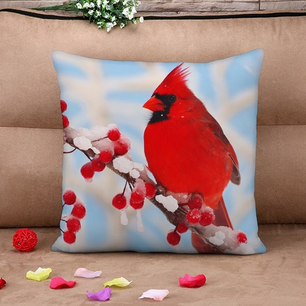 Beautiful Red Parrot Print Throw Pillow Case