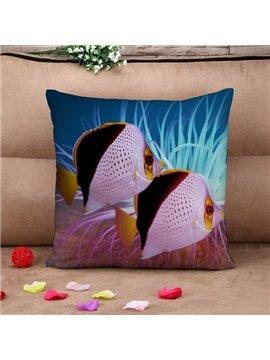 Attractive Ornamental Fish Print Throw Pillow Case