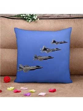 Combat Aircraft Soaring in the Sky Print Throw Pillow Case