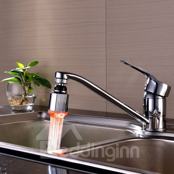 Practical Waterfall LED Temperature Sensor 3 Colors Changing Kitchen Faucet Head