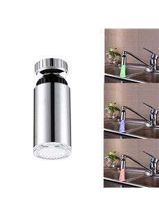 Amazing Temperature Sensor Chrome Finish Kitchen Faucet Head