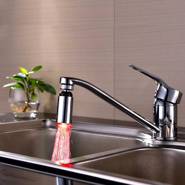 Amazing Temperature Sensor Chrome Finish Kitchen Faucet Head
