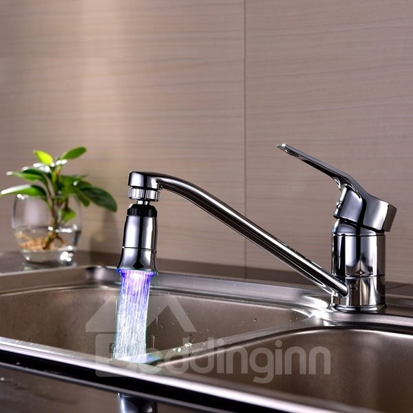 Unique Design Chrome Finish Temperature Sensor Kitchen Faucet Head