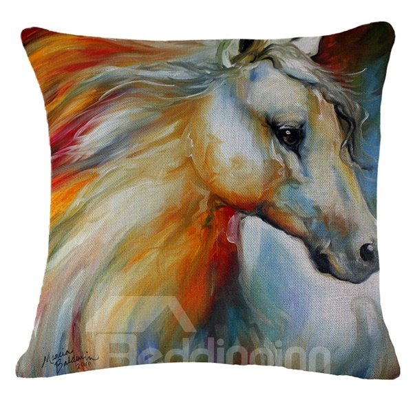 Handsome Horse Reactive Print Throw Pillow Case