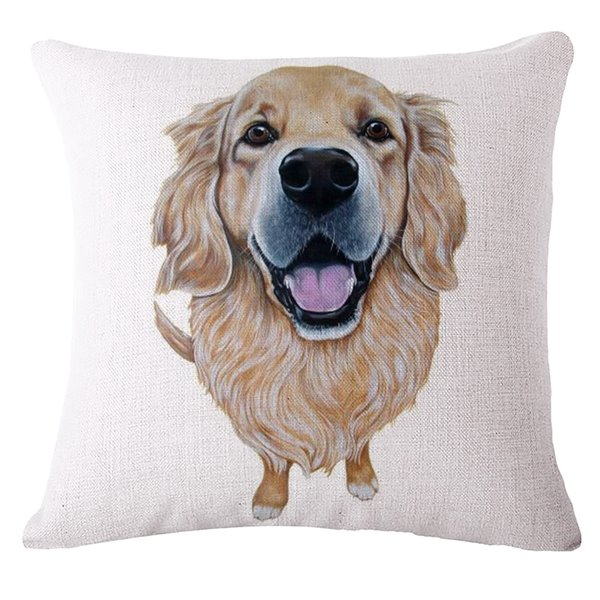 Attractive Puppy Print Cotton Throw Pillow Case