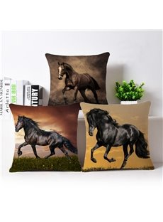 Lifelike 3D Horse Printed Throw Pillow Case