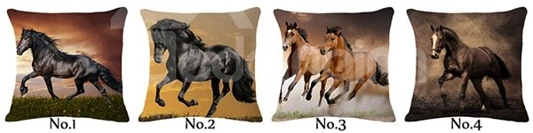 Lifelike 3D Horse Printed Throw Pillow Case