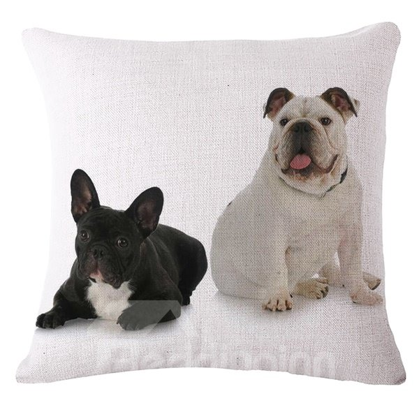 Realistic Lovely Puppy Print Throw Pillow Case