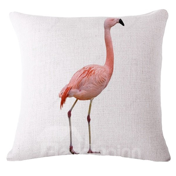 Unique Design Pink Flamingo Print Throw Pillow Case