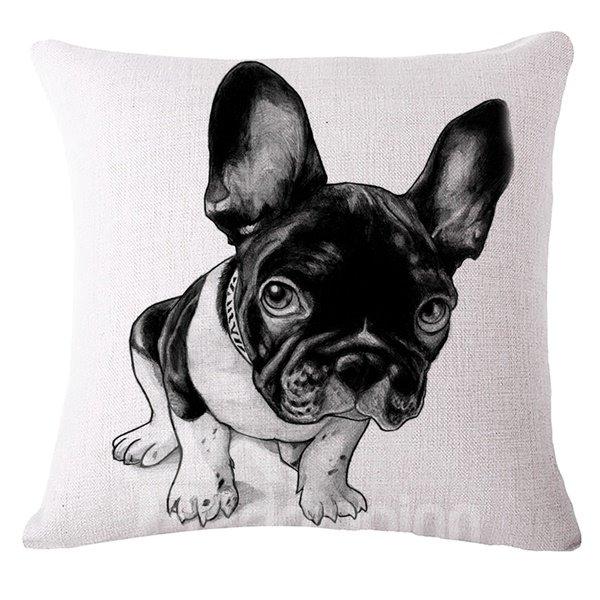 Likable Black Bulldog Print Throw Pillow Case