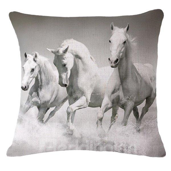 Vivid 3D Horse Print Throw Pillow Case