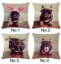 Interesting Bulldog Print Cotton Throw Pillow Case