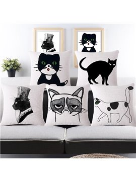 Simple Design Sexy Kitty Print Throw Pillow Case