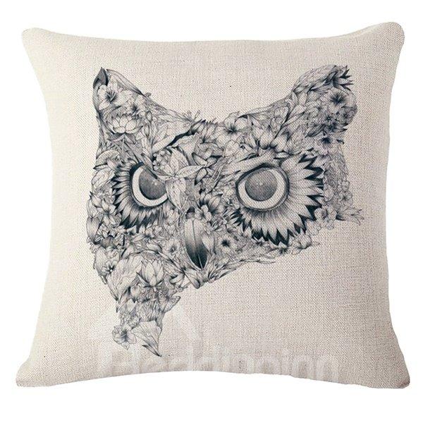Vintage Style Unique Owl Print Throw Pillow Case