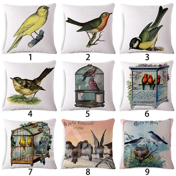Rural Style Birds Print Throw Pillow Case