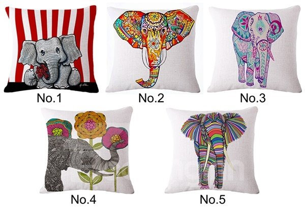 Super Cool Elephant Print Throw Pillow Case