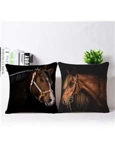 Vintage Style Vivid Horse Print Throw Pillow Case