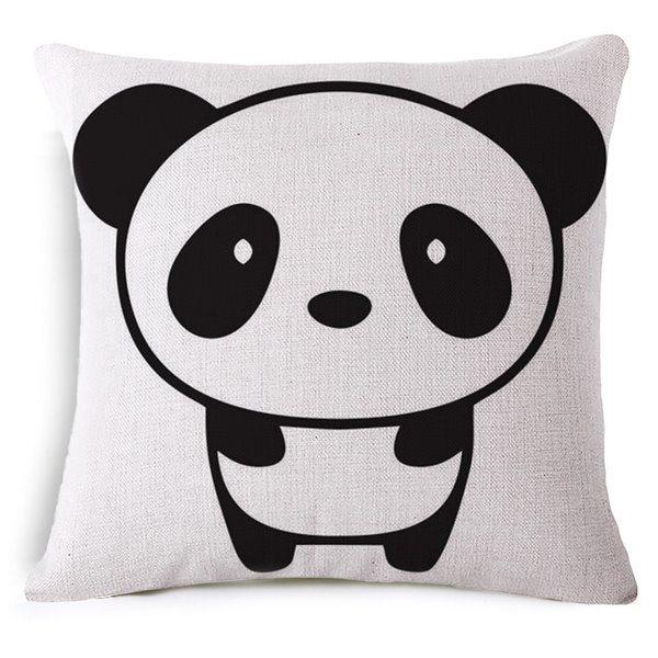 Minimalist Style Cute Panda Print Throw Pillow Case