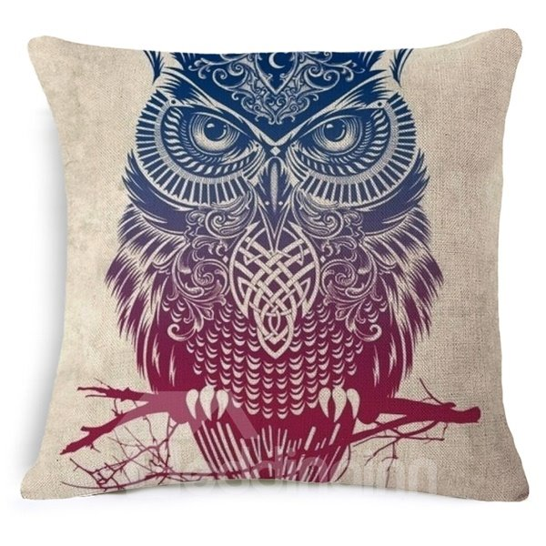 Luxuriant Owl Print Square Throw Pillow Case