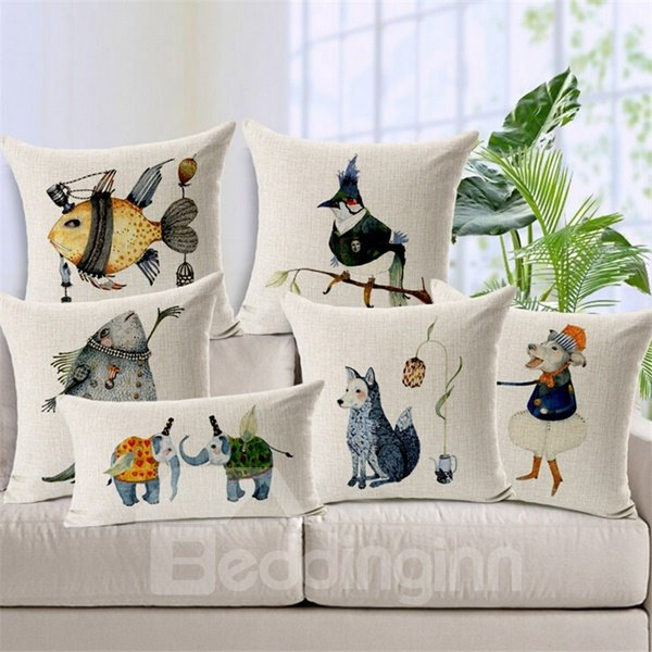 Imaginative Cartoon Animal Print Square Throw Pillow Case