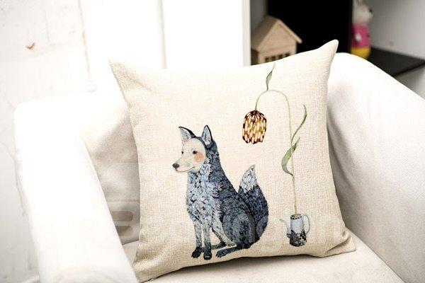Imaginative Cartoon Animal Print Square Throw Pillow Case