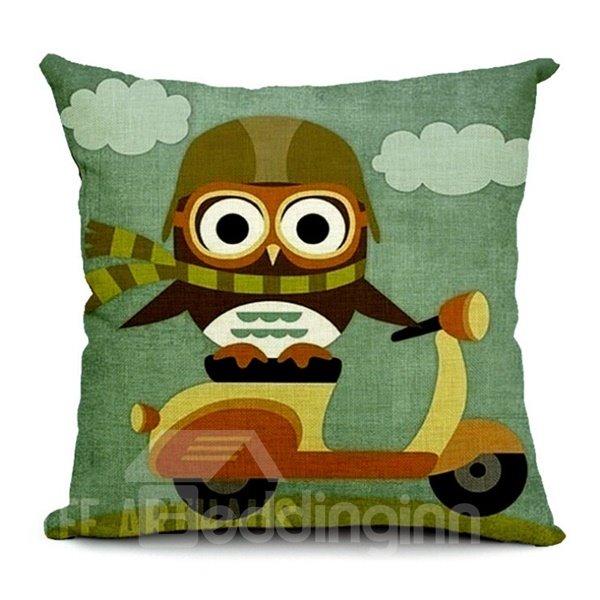 Pretty Cute Cartoon Owl Print Throw Pillow Case