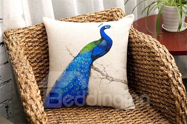 Noble Peacock Print Square Throw Pillow Case
