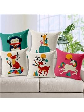 Faddish Lovely Cartoon Animal Print Throw Pillow Case