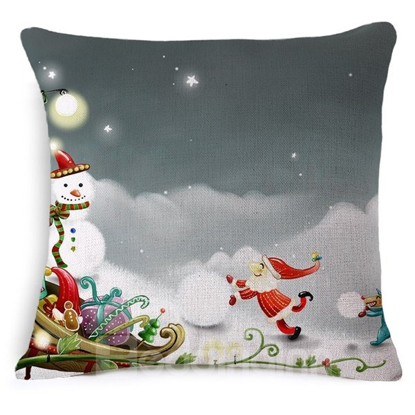 Joyful Santa Claus and Snowman Print Throw Pillow Case